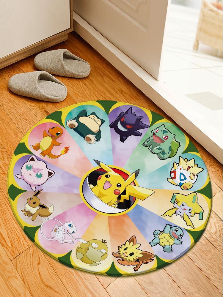 Pikachu and Friends Carpet/Rug Official Merch FDM3009 Round / S Official Otaku Treat Merch