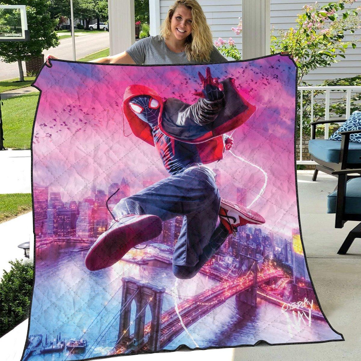spidey miles signed quilt blanket 118145 - Otaku Treat