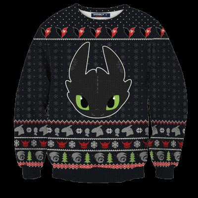 Toothless Christmas Unisex Wool Sweater FDM0310 S Official Otaku Treat Merch