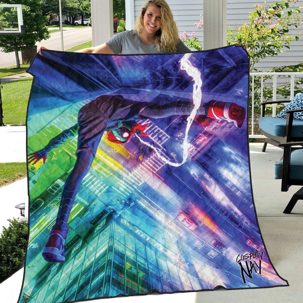 web slinger miles signed quilt blanket 205354 - Otaku Treat