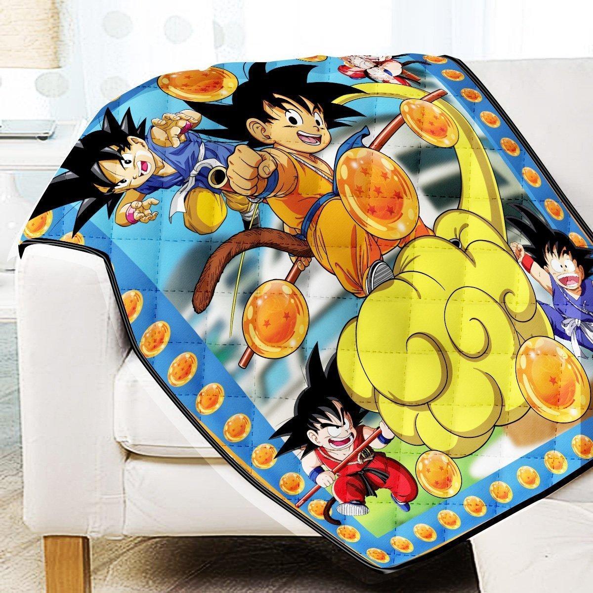 Young Goku Quilt Blanket Official Merch FDM3009 Twin Official Otaku Treat Merch